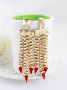 Red Triangle Gold Rivet Tassel Earrings