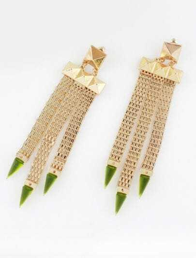 Green Triangle Gold Rivet Tassel Earrings