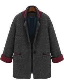 Grey Long Sleeve Single Button Pockets Coat