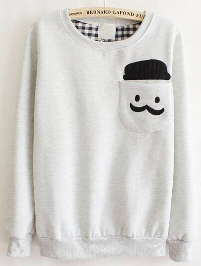 Grey Long Sleeve Cartoon Pocket Sweatshirt