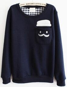 Blue Long Sleeve Cartoon Pocket Sweatshirt