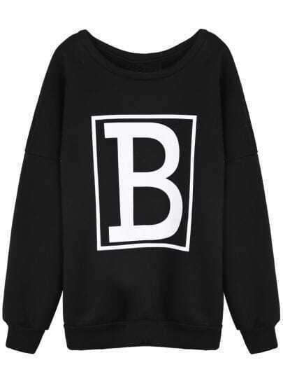 Black Letter B Print Round Neck Sweatshirt