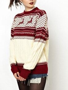 Red Round Neck Deer Pattern Fairisle Sweater