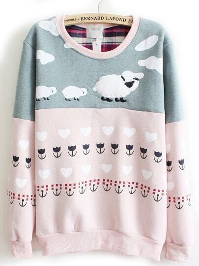 Pink Cartoon Sheep Flowers Print Sweatshirt