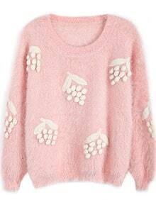 Pink Long Sleeve Grapes Embroidered Mohair Sweater