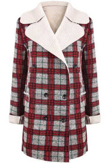 Red Grey Wool Lapel Plaid Long Sleeve Coat