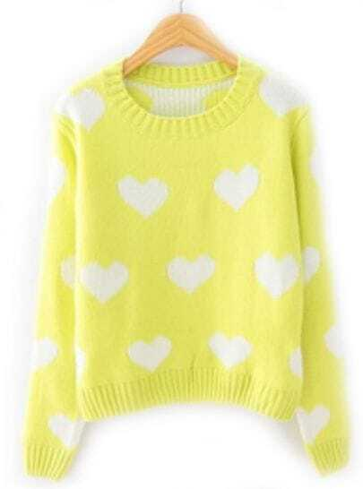 Yellow Long Sleeve Hearts Pattern Loose Sweater
