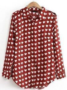 Wine Red Lapel Long Sleeve Hearts Print Blouse