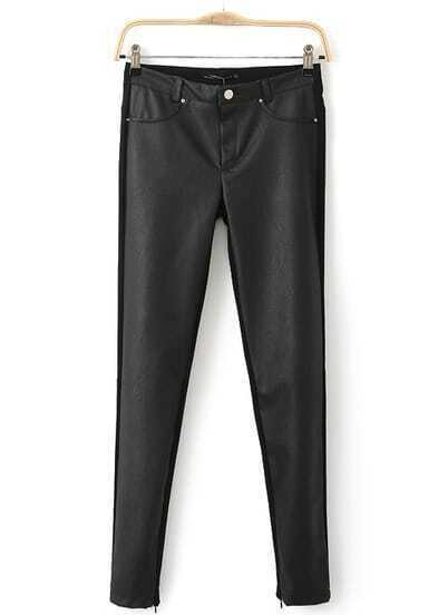 Black Contrast PU Leather Rivet Pockets Pant
