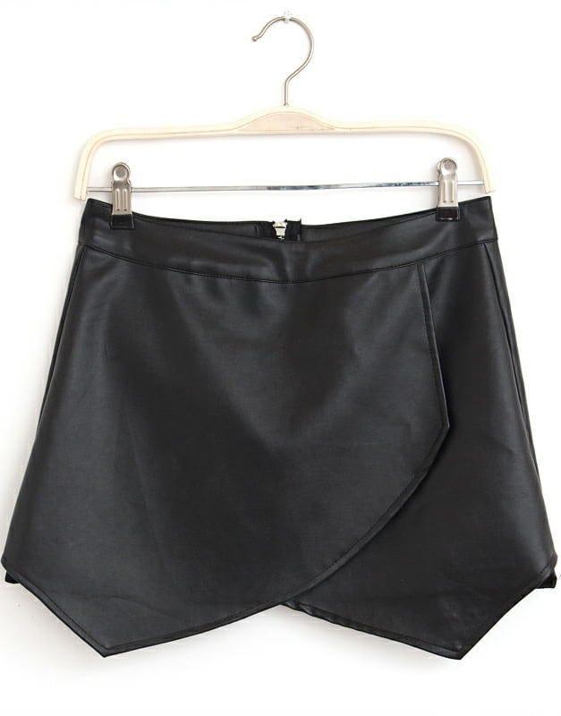 Black Zipper Asymmetrical PU Leather Skirt -SheIn(Sheinside)