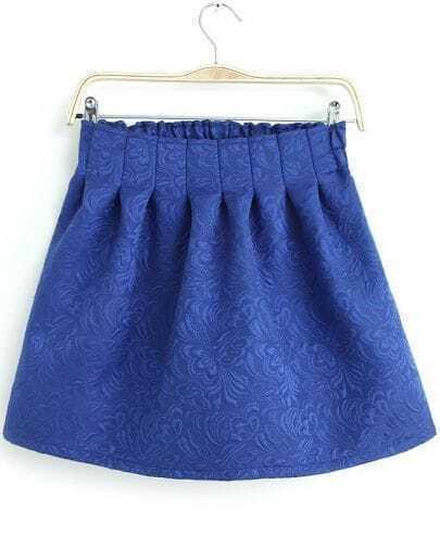 Blue Elastic Waist Embroidered Flare Skirt