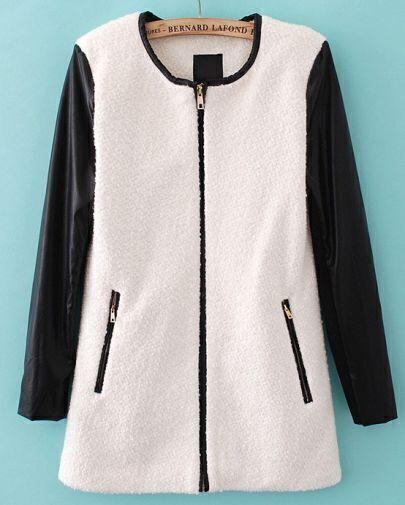 Beige Contrast PU Leather Long Sleeve Woolen Coat