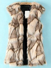 Apricot Sleeveless Geometric Pattern Faux Fur Vest
