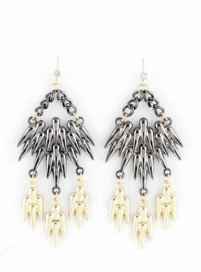 Silver Gold Spike Chain Dangle Earrings