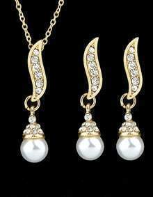 Gold Pearl Crystal Leaf Necklace With Earrings