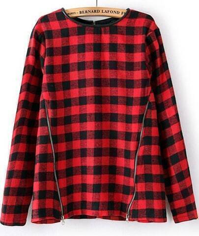 Red Black Plaid Long Sleeve Zipper Slim Blouse