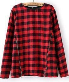 Red Black Plaid Long Sleeve Zipper Slim Blouse