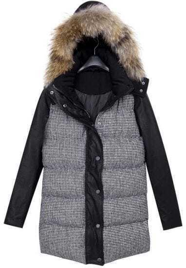 Abrigo con capucha pelo pata de gallo-Negro