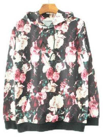 Black Hooded Long Sleeve Floral Letters Print Sweatshirt