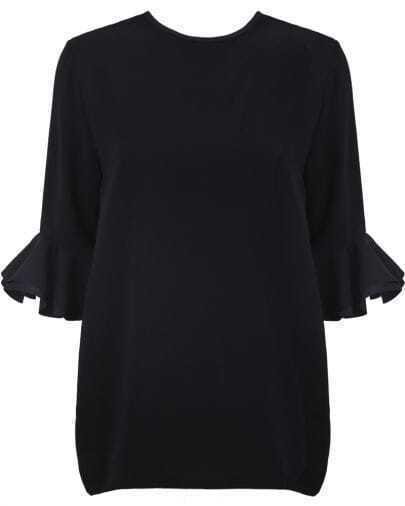Black Ruffle Long Sleeve Loose Blouse
