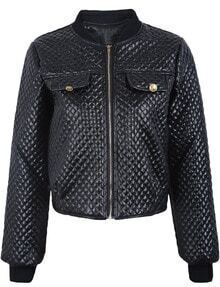 Black Long Sleeve Diamond Patterned PU Jacket