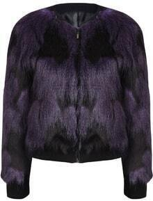Purple Long Sleeve Zipper Faux Fur Jacket