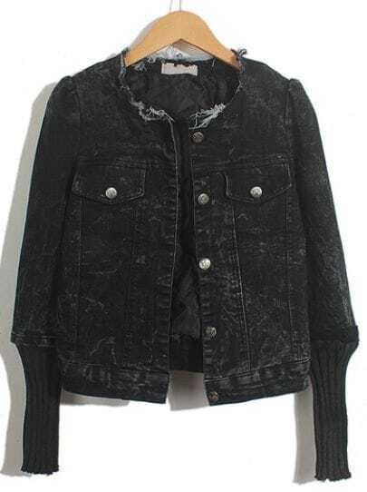 Black Contrast Sweater Long Sleeve Denim Jacket