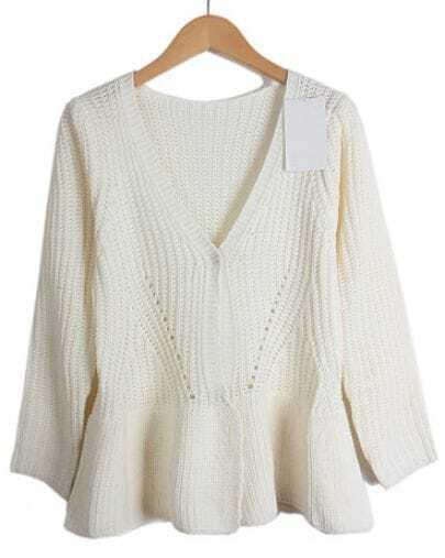 Beige V Neck Long Sleeve Hollow Knit Cardigan