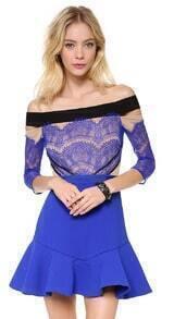 Blue Off The Shoulder Eyelash Lace Ruffle Dress