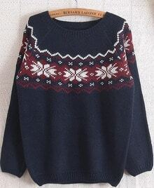 Navy Long Sleeve Snowflake Pattern Loose Sweater