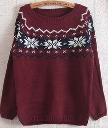 Red Long Sleeve Snowflake Pattern Loose Sweater