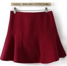 Red Contrast Ruffle Mini Skirt