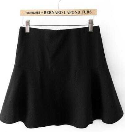 Black Contrast Ruffle Mini Skirt