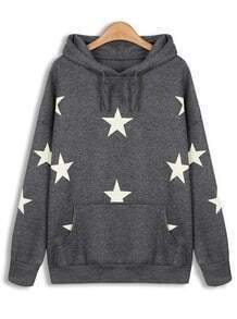 Grey Hooded Long Sleeve Stars Print Sweatshirt