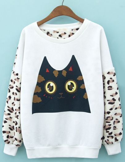 White Long Sleeve Leopard Cat Print Sweatshirt