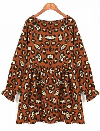 Khaki Long Sleeve Leopard Pleated Dress