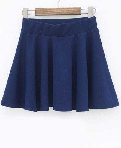 Navy Slim Pleated Skirt
