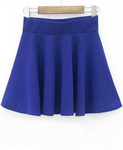 Blue Slim Pleated Skirt