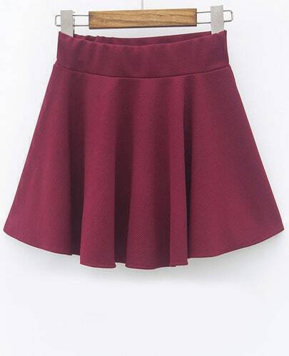 Wine Red Slim Pleated Skirt