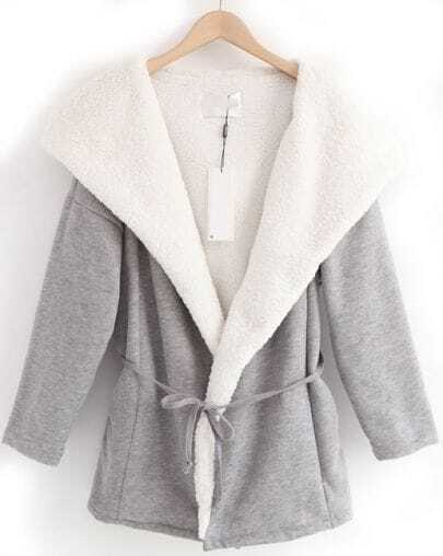 Grey Hooded Long Sleeve Lace ups Coat