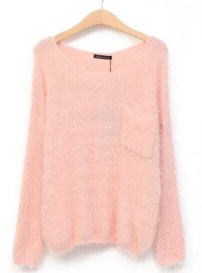 Pink Long Sleeve Pocket Knit Slim Sweater