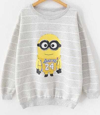 Grey Striped Despicable Me Print Sweatshirt