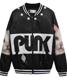 Black with White Cat PUNK Print Bomber Jacket