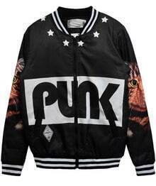 Black with Yellow Cat PUNK Print Bomber Jacket