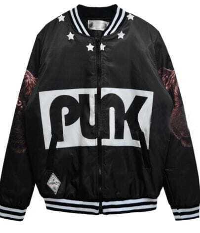 Black with Brown Cheetah PUNK Print Bomber Jacket