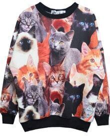 Grey All Over Cats Print Round Neck Sweatshirt