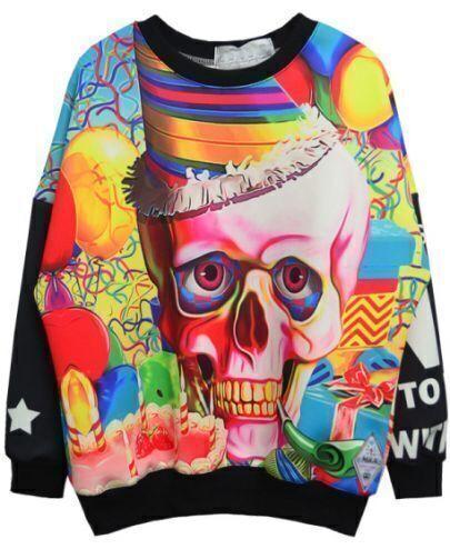 Black Skull and Birthday Cake Print Sweatshirt