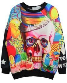Black Skull and Birthday Cake Print Sweatshirt
