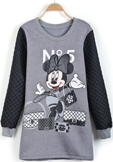 Grey Contrast PU Leather Mickey Print Dress