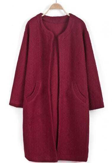 Wine Red Long Sleeve Pockets Woolen Coat